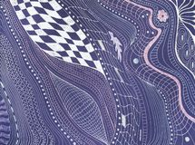 Modelo abstracto en el papel violeta por la pluma de plata imagen de archivo