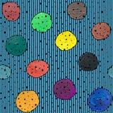 Modelo abstracto inconsútil con aguazo de los círculos y acrílico en un fondo rayado libre illustration