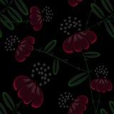 Modelo abstracto inconsútil con el ornamento de las flores en fondo negro Fotos de archivo