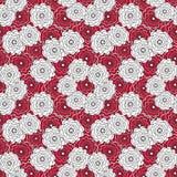 Modelo abstracto inconsútil con el ornamento de las flores en fondo rojo Foto de archivo libre de regalías