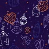 Modelo abstracto inconsútil con los juguetes de la Navidad y dibujo de la casa en countour Fotografía de archivo libre de regalías
