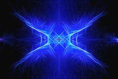 Modelo abstracto simétrico azul en fondo oscuro fotografía de archivo