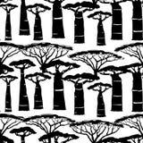 Modelo africano exhausto de los árboles de la mano stock de ilustración