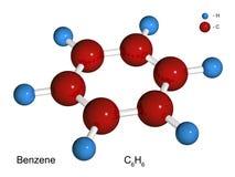 Modelo aislado 3D de una molécula del benceno Imagen de archivo libre de regalías