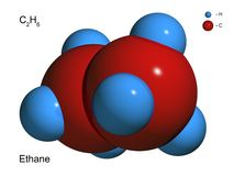 Modelo aislado 3D de una molécula del etano Foto de archivo libre de regalías