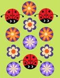 Modelo alegre inconsútil con el Ladybug y las flores Fotos de archivo