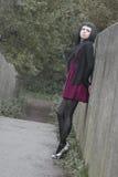 Modelo alternativo na ponte no vestido Fotografia de Stock