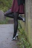 Modelo alternativo na ponte no vestido Foto de Stock
