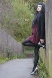 Modelo alternativo na ponte no vestido Fotos de Stock