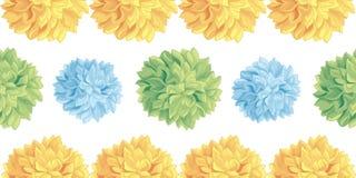 Modelo amarillo del vector, azul, verde en colores pastel lindo de la frontera de la repetición de Pom Poms Set Horizontal Seamle stock de ilustración