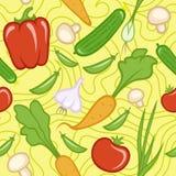 Modelo amarillo inconsútil con diversas verduras frescas Foto de archivo