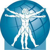 Modelo & globo do homem de Vitruvian Foto de Stock