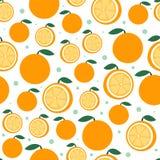 Modelo anaranjado de la fruta en blanco Fondo inconsútil de la fruta cítrica hermosa brillante Ejemplo del vector en plano Fotografía de archivo libre de regalías