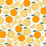 Modelo anaranjado de la fruta en blanco Fondo inconsútil de la fruta cítrica hermosa brillante Ejemplo del vector en plano Imágenes de archivo libres de regalías