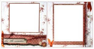 Modelo anaranjado delicado del marco del libro de recuerdos Imagen de archivo