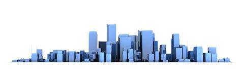 Modelo ancho 3D - ciudad azul brillante del paisaje urbano stock de ilustración