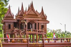 Modelo antiguo del estilo de las casas tailandesas foreshorten Foto de archivo