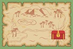 Modelo antiguo del mapa del tesoro del pirata Stock de ilustración