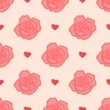 Modelo apacible de las rosas con las flores grandes y pequeñas Foto de archivo