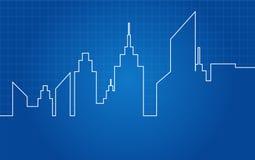 Modelo arquitectónico del horizonte de los rascacielos de la ciudad ilustración del vector