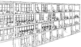 Modelo arquitetónico da construção do desenho de esboço Fotos de Stock Royalty Free