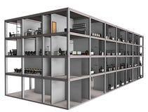 Modelo arquitetónico da construção do desenho de esboço Imagem de Stock Royalty Free