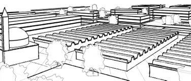 Modelo arquitetónico da construção do desenho de esboço ilustração do vetor
