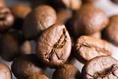 Modelo ascendente asado de la textura del cierre de la macro de los granos de café Fotos de archivo
