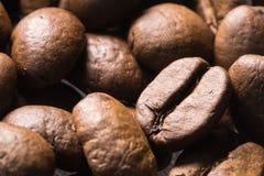Modelo ascendente asado de la textura del cierre de la macro de los granos de café Imágenes de archivo libres de regalías