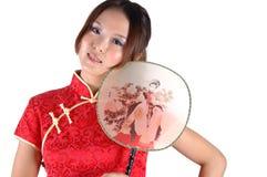 Modelo asiático com ventilador Foto de Stock