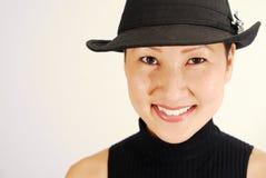 Modelo asiático em Fedora Imagens de Stock Royalty Free