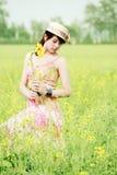 Modelo asiático no campo da violação Fotos de Stock Royalty Free
