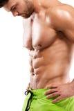 Modelo atlético forte Torso da aptidão do homem que mostra o músculo abdominal fotografia de stock royalty free