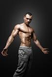 Modelo atlético forte Torso da aptidão do homem que mostra os músculos grandes fotografia de stock