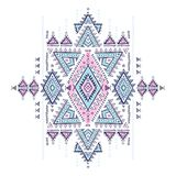 Modelo azteca geométrico El estilo tribal del tatuaje se puede utilizar para la materia textil, esteras de la yoga, cajas del tel Imagen de archivo