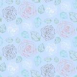 Modelo azul blando con las rosas y las hojas ilustración del vector