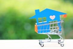 Modelo azul da casa no mini carrinho de compras no fundo, no conceito verdes naturais do investimento empresarial e dos bens imob imagens de stock