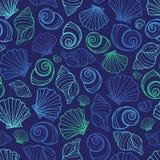 Modelo azul de la repetición de las conchas marinas del vector Conveniente para el papel de regalo, la materia textil y el papel  libre illustration