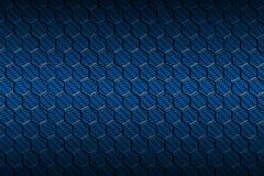 Modelo azul del hexágono de la fibra de carbono Foto de archivo