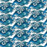 Modelo azul del ornamental de la flor del vector decorativo Imagenes de archivo