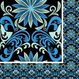 Modelo azul inconsútil brillante en un fondo negro Imagen de archivo libre de regalías