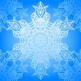 Modelo azul inconsútil con los copos de nieve de la elegancia Imágenes de archivo libres de regalías