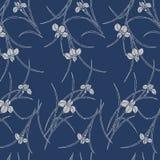 Modelo azul japonés del estampado de plores del iris libre illustration