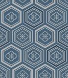 Modelo azul japonés del hexágono de la flor ilustración del vector