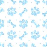 Modelo azul lindo inconsútil del brillo, fondo sin fin del perrito para los diseños del papel pintado, de la cubierta, de la tarj ilustración del vector