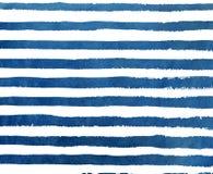 Modelo azul marino del grunge de la raya de la acuarela Fotos de archivo