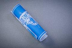 Modelo azul no conceito cinzento da construção do fundo Fotos de Stock