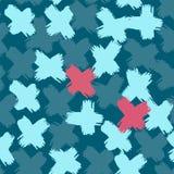 Modelo azul tropical del extracto del color del cepillo del vintage cruzado del símbolo inconsútil stock de ilustración