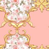 Modelo barroco inconsútil con las hojas de oro decorativas libre illustration