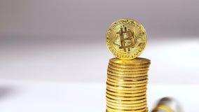 Modelo Belonging de la moneda de la cámara lenta a la moneda contra el rollo lanzado metrajes